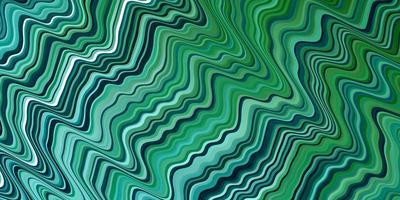 hellblauer, grüner Vektorhintergrund mit gebogenen Linien. vektor