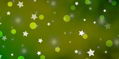 hellgrüner, gelber Vektorhintergrund mit Kreisen, Sternen. vektor