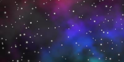 dunkler mehrfarbiger Vektorhintergrund mit bunten Sternen.