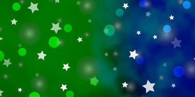 dunkle mehrfarbige Vektortextur mit Kreisen, Sternen.