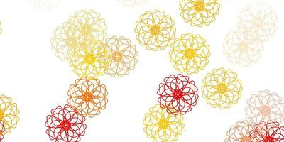 ljus orange vektor doodle mönster med blommor.