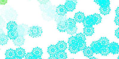 ljusblå, grön vektorstruktur med ljusa snöflingor.