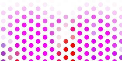ljusrosa, röd vektorbakgrund med fläckar.