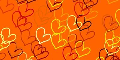 ljus orange vektormall med doodle hjärtan.