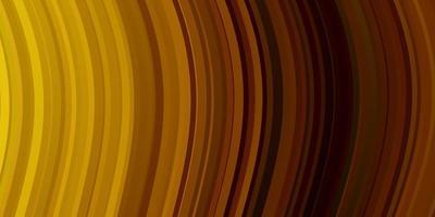 mörk orange vektor bakgrund med böjda linjer.