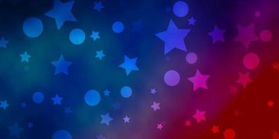 hellblauer, roter Vektorhintergrund mit Kreisen, Sternen.