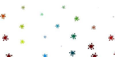 heller mehrfarbiger Vektorhintergrund mit covid-19 Symbolen