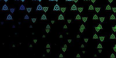 mörk flerfärgad bakgrund med mysteriesymboler.