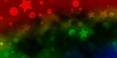 mörk flerfärgad vektorbakgrund med cirklar, stjärnor. vektor