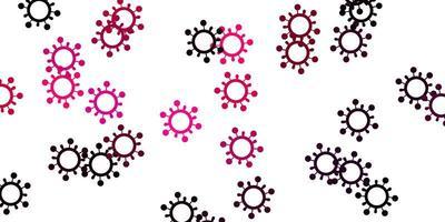 hellrosa Vektorhintergrund mit Virensymbolen vektor