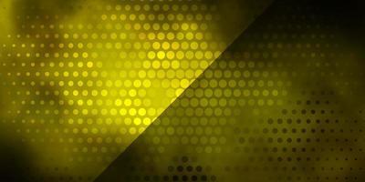 dunkelgrünes, gelbes Vektorlayout mit Kreisen.