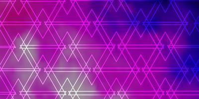 hellviolettes, rosa Vektorlayout mit Linien, Dreiecken.