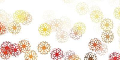 natürliche Kunst des hellroten, gelben Vektors mit Blumen.