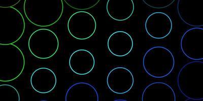 dunkelblaues, grünes Vektorlayout mit Kreisen.