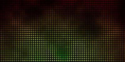 dunkelgrüne, gelbe Vektorschablone mit Kreisen.