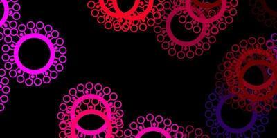 mörkrosa, gul vektorbakgrund med covid-19 symboler