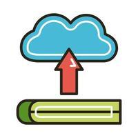 elektronisk bok med molndatorutbildning online-linje och fyllningsstil vektor
