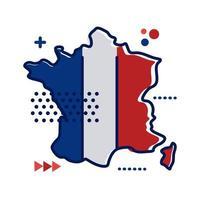 Frankrike flagga och karta platt stilikon