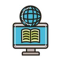 elektronisk bok i skrivbordet och webbläsaren vektor