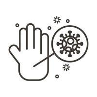 Hand mit covid19 Viruspartikeln Linienstil