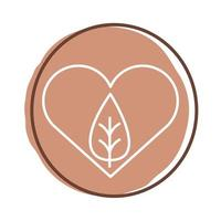hjärta med bladväxtblockstil vektor