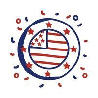 kreisförmige Rahmenlinienart-Vektorillustrationsentwurf der usa-Flagge