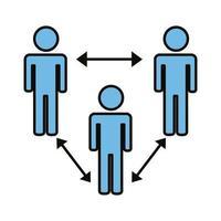 grupp människor med socialt avstånd