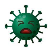 covid19 Partikel trauriger Emoticon Charakter vektor
