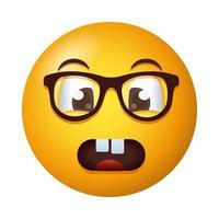livrädd emoji ansikte bär glasögon lutning stil