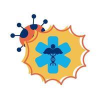 medicinsk symbol med covid 19 partikel platt stil