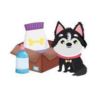 hund sitter med mat i rutan hund tecknade husdjur vektor