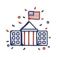 Regierungsgebäude mit USA Flag Line Style