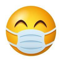Emoji trägt medizinische Maske Gradientenstil vektor