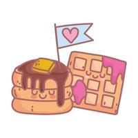 Pfannkuchen und Waffel mit Marmelade Charakter Menü Restaurant Cartoon Essen süß