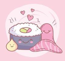Sushi Lachs Oktopus und Menü Restaurant Essen Cartoon