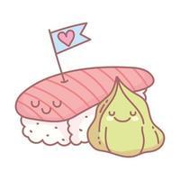 Sushi und Wasabi lieben Menü Restaurant Cartoon Essen süß