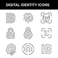 Symbole für digitale Identität, die mit einem bearbeitbaren Strich festgelegt wurden vektor