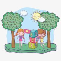 glücklicher Kindertag, Junge und Mädchen spielen mit Zahlen blockiert Park vektor