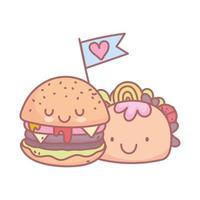 Burger und Taco Charakter Menü Restaurant Cartoon Essen süß