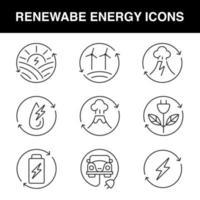 Satz von Liniensymbolen für das Thema erneuerbare Energien vektor