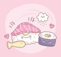Sushi Reis Lachs und Fisch Menü Restaurant Essen süß vektor