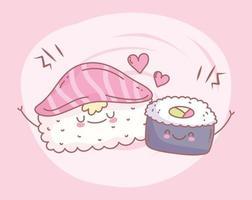 Sushi Lachs Reis Roll Menü Menü Essen süß vektor