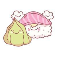 Sushi Lachs Wasabi und Charakter Menü Restaurant Cartoon Essen süß