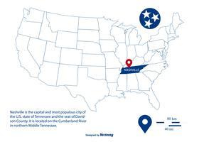 Skissad Vector Map Highlighting Nashville Tennessee