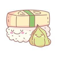 Wasabi und Sushi Charaktere Menü Restaurant Cartoon Essen süß vektor