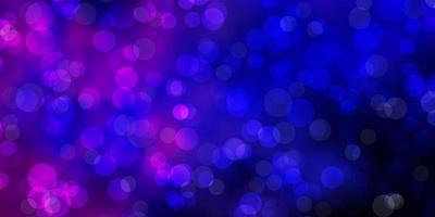 dunkelrosa, blauer Vektorhintergrund mit Kreisen.