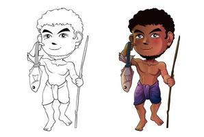 fiskare tecknad målarbok för barn