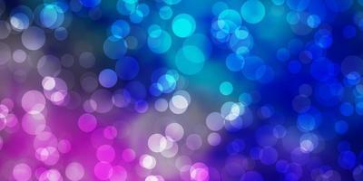 hellrosa, blaue Vektorschablone mit Kreisen.