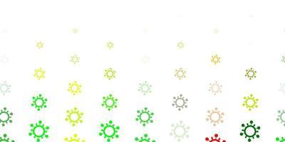 hellgrüner, gelber Vektorhintergrund mit covid-19 Symbolen.