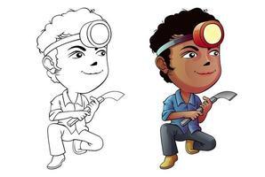 Gummi klopfen Mann Cartoon Malvorlagen für Kinder vektor